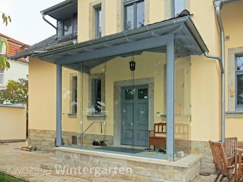 Windschutz Verglasung der Terrassenüberdachung Kwozalla